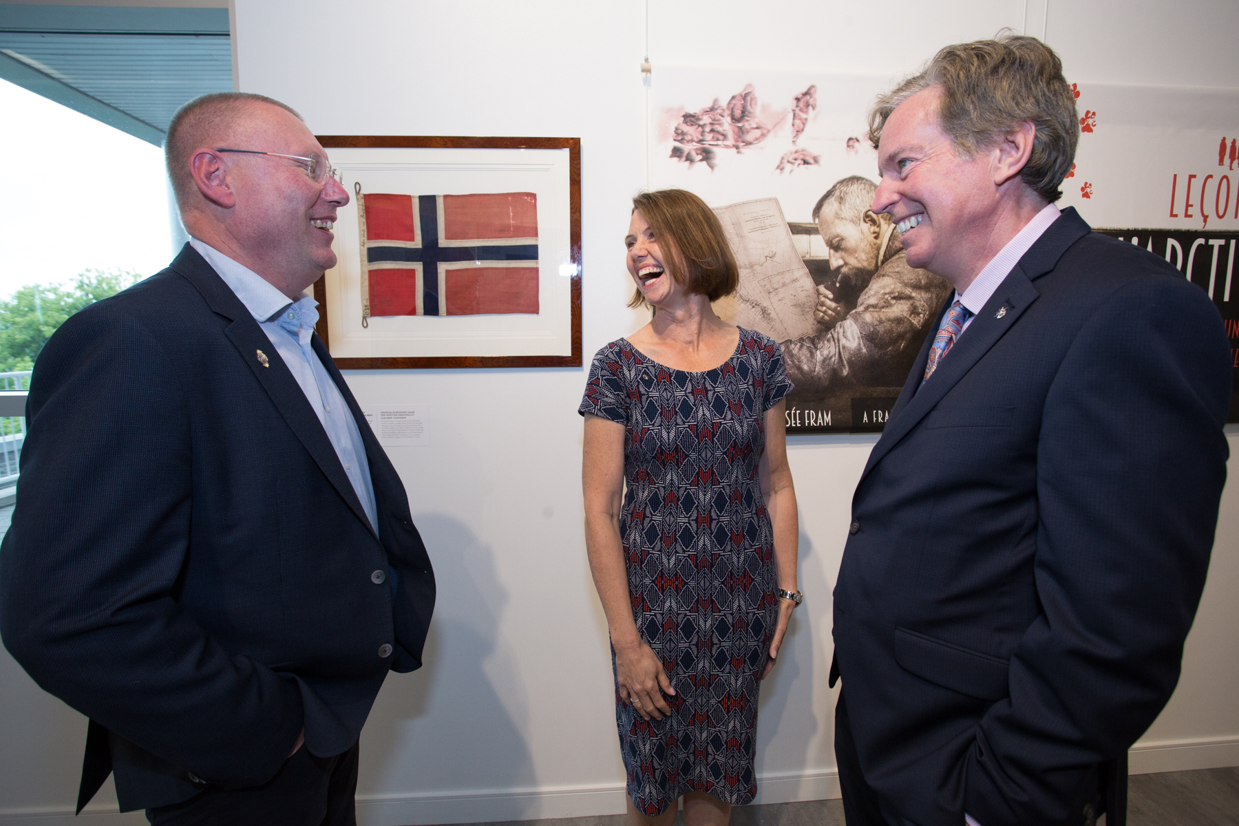 **Geir Kløver, director of Norway's Fram Museum, left, shares a laugh with Her Excellency, Anne Kari Hansen Ovind, Ambassador of Norway, and RCGS CEO John Geiger during the opening of Lessons from the Arctic on Wednesday, June 27. (Photo: Ben Powless/Canadian Geographic)**