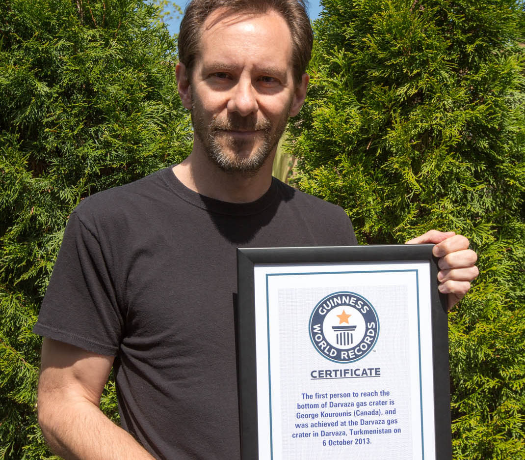 George Kourounis with Guinness World Record certificate for his 2013 expedition into Darvaza gas crater