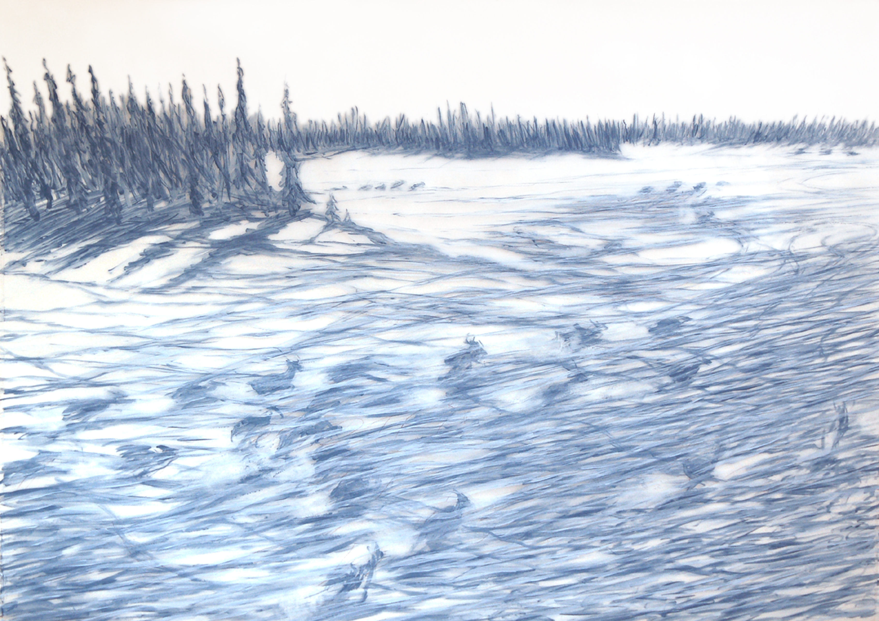 """Caribou Trails"", 2006, acrylic on mylar, 30 x 40 inches. by Katharine Harvey"