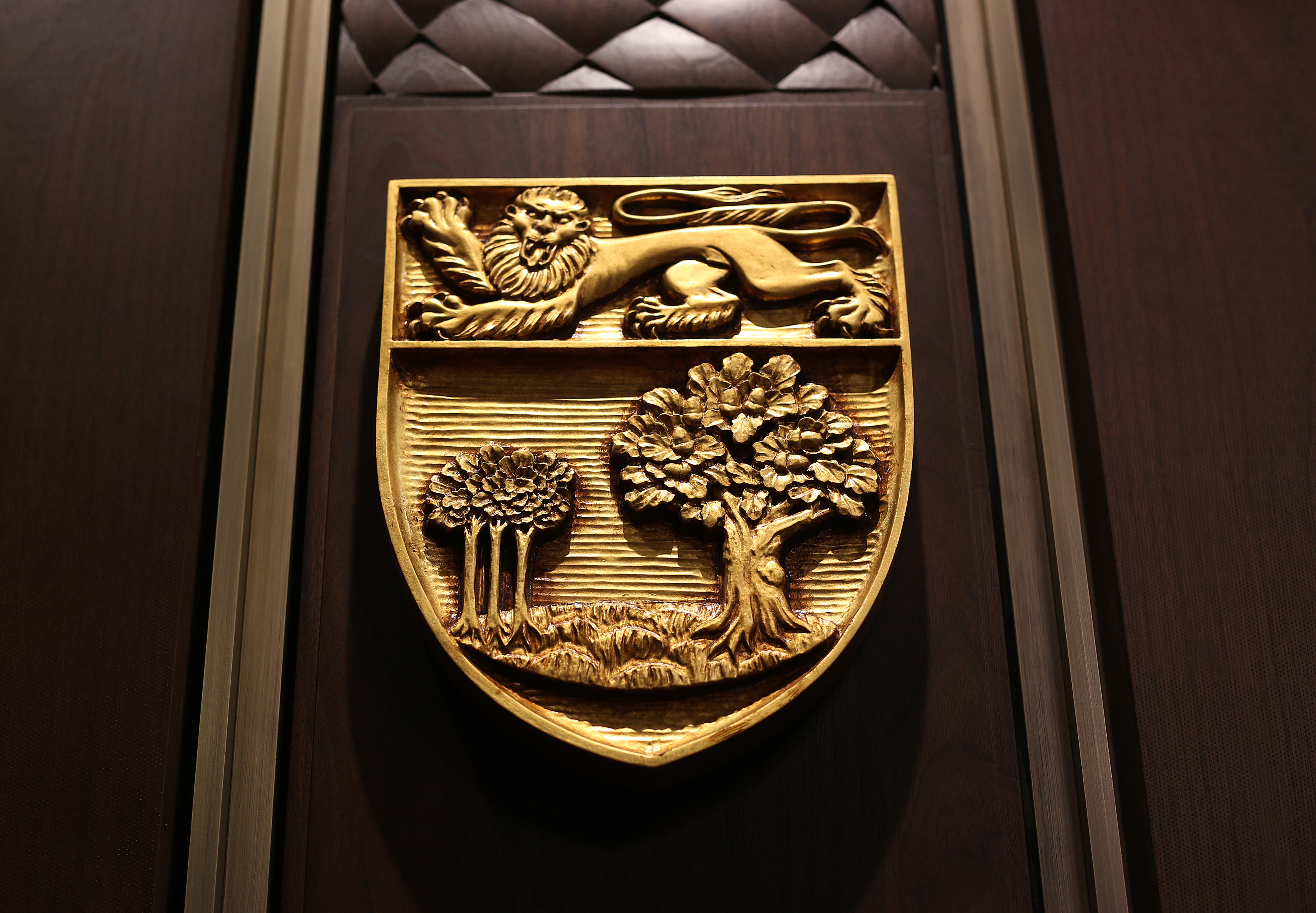 Provincial shield of Prince Edward Island, carving in Senate of Canada building