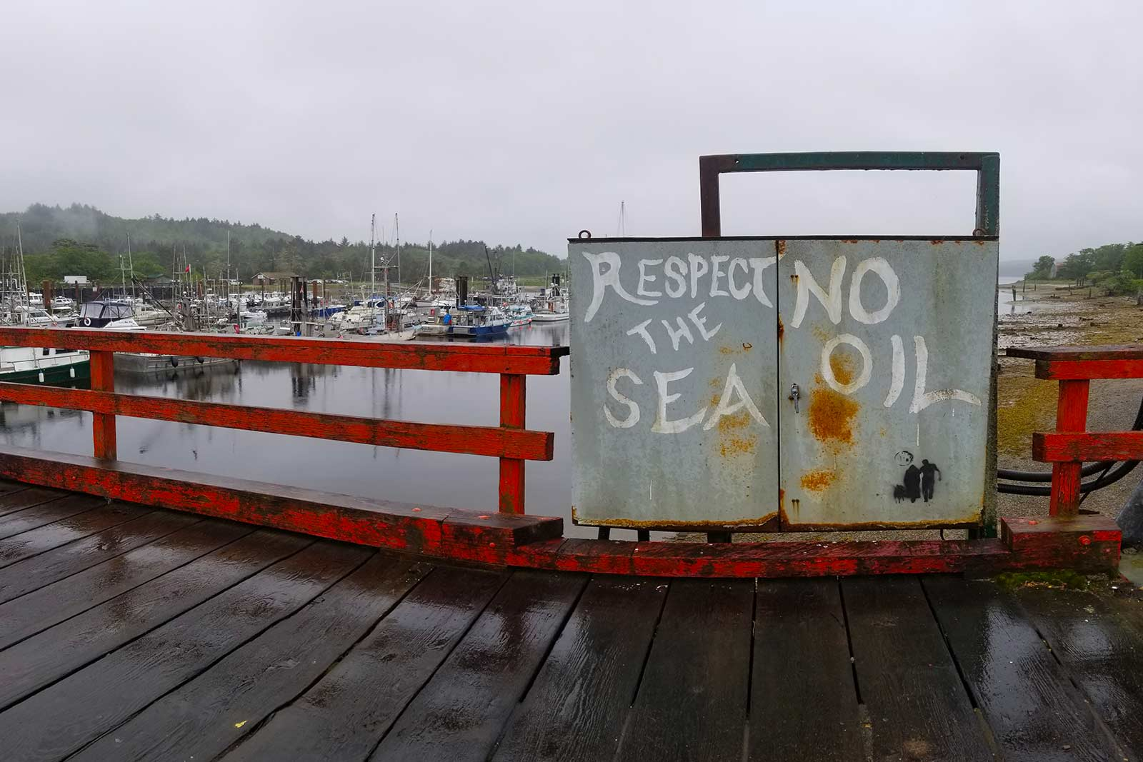 Graffiti on a pier in Haida Gwaii
