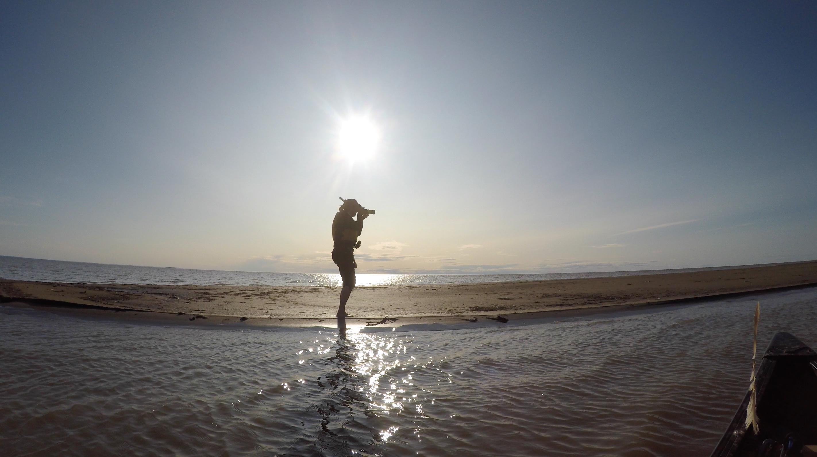Dianne Whelan filming on Great Slave Lake, N.W.T.