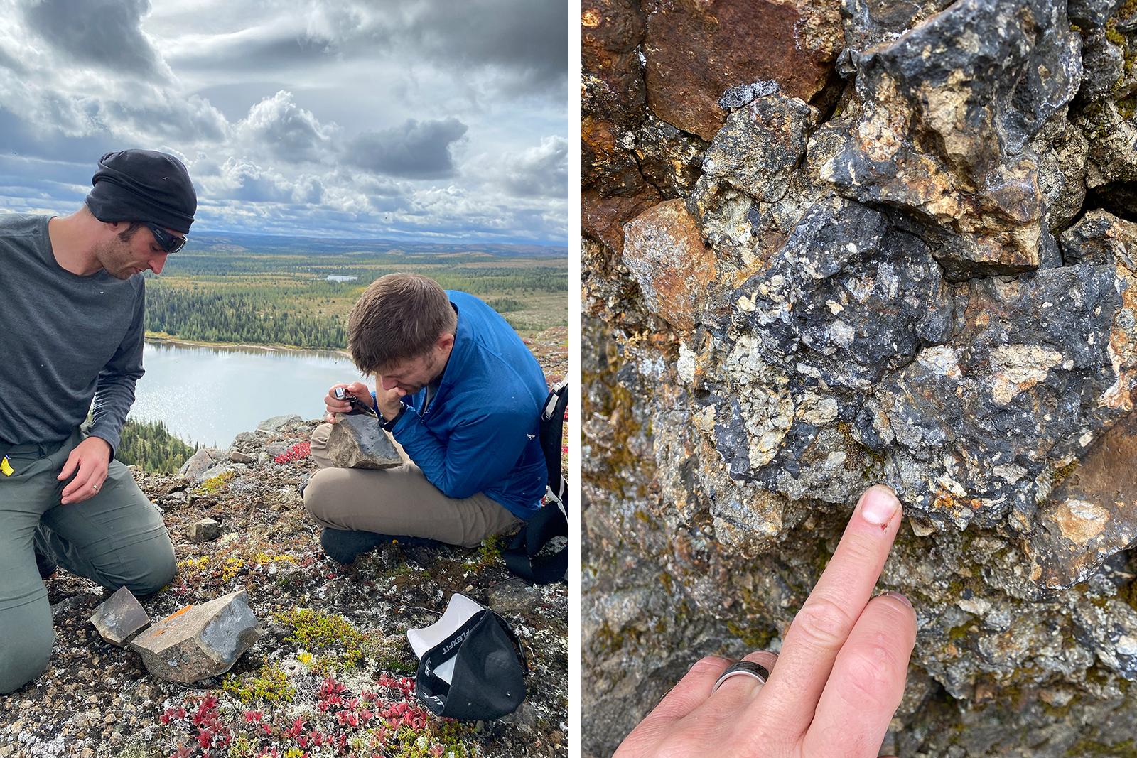 Matt and Josh doing geology at Kamestastin Lake