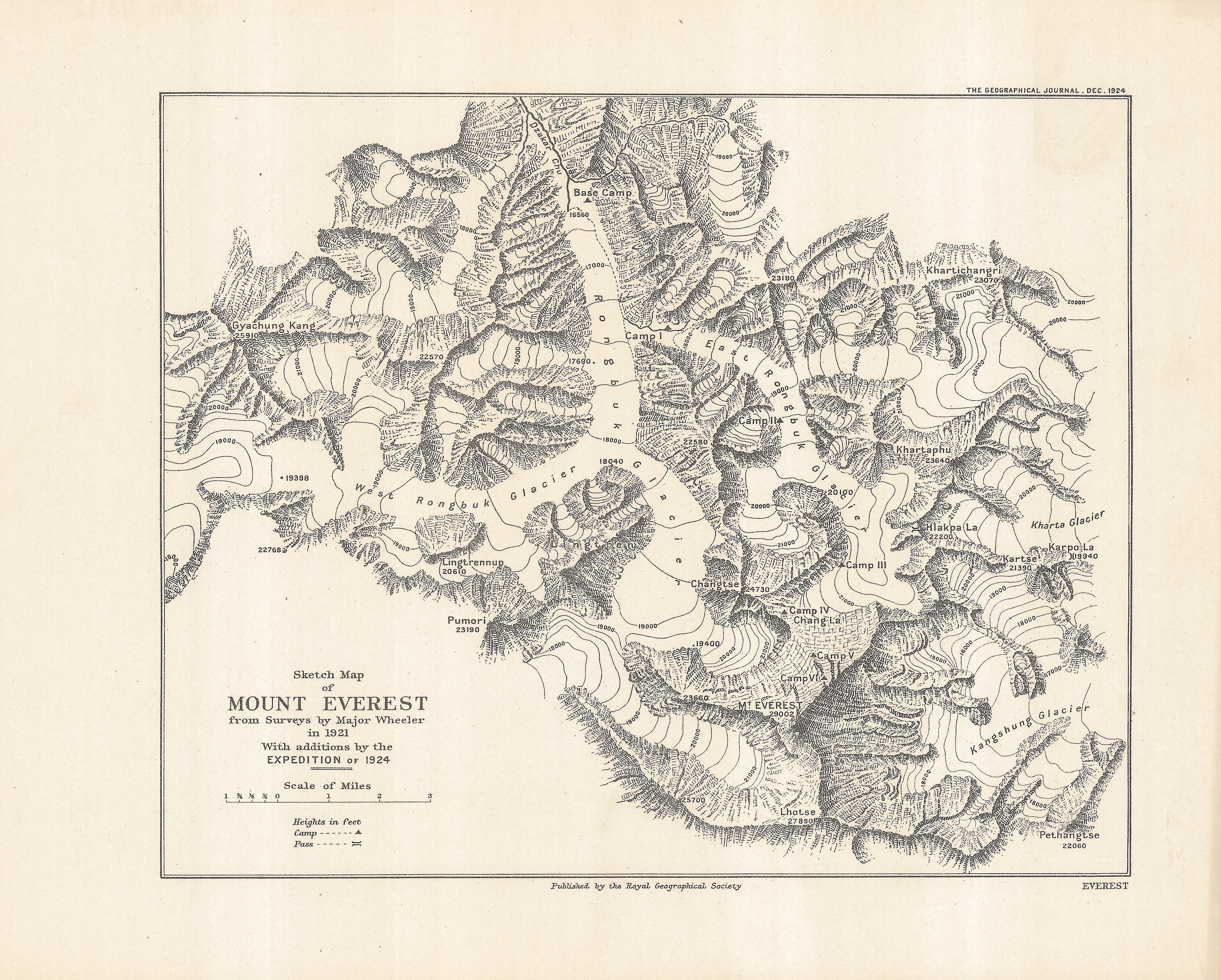 1921 Everest survey map created by Oliver Wheeler