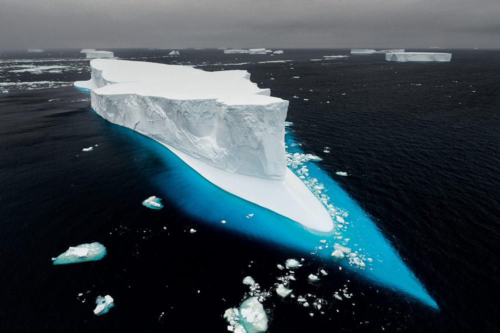 Nicklen likens melting sea ice to losing the soil of a garden. Taken in Antarctic Sound, Antarctica.