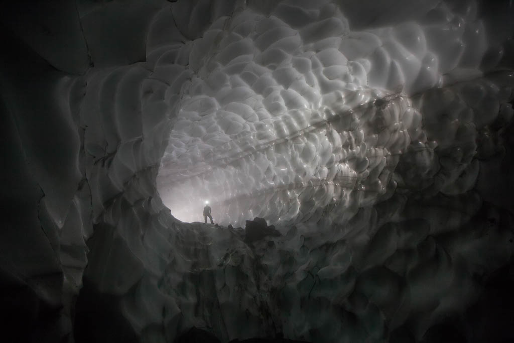 An ice tunnel inside Crater Glacier, Mount St. Helens