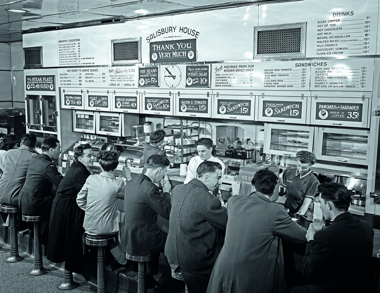 Lunch counter Kennedy Street Salisbury House Winnipeg Manitoba 1940s