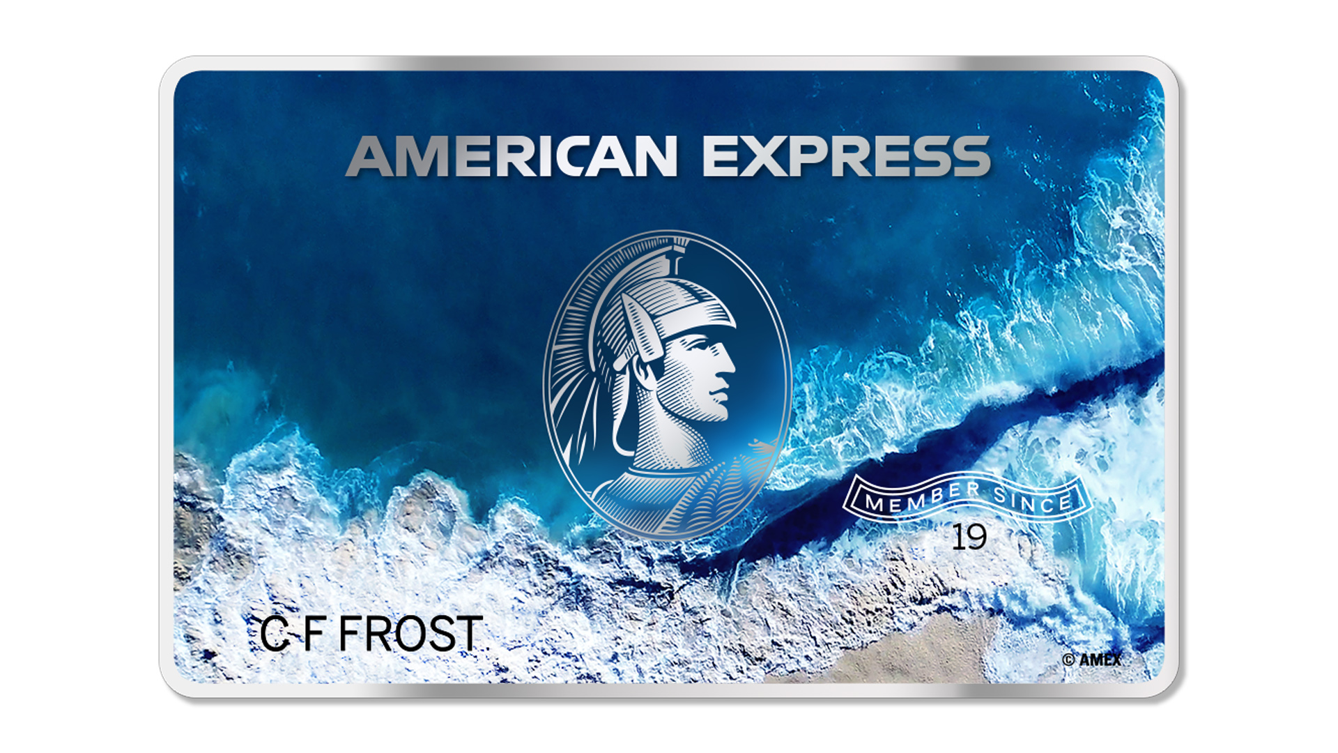 An American Express credit card made with recycled ocean plastic