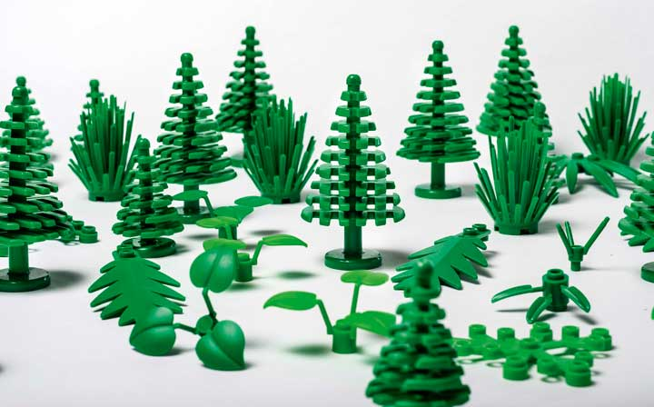 "Pieces from Lego's ""botanical elements"" line made from plant-based plastic"