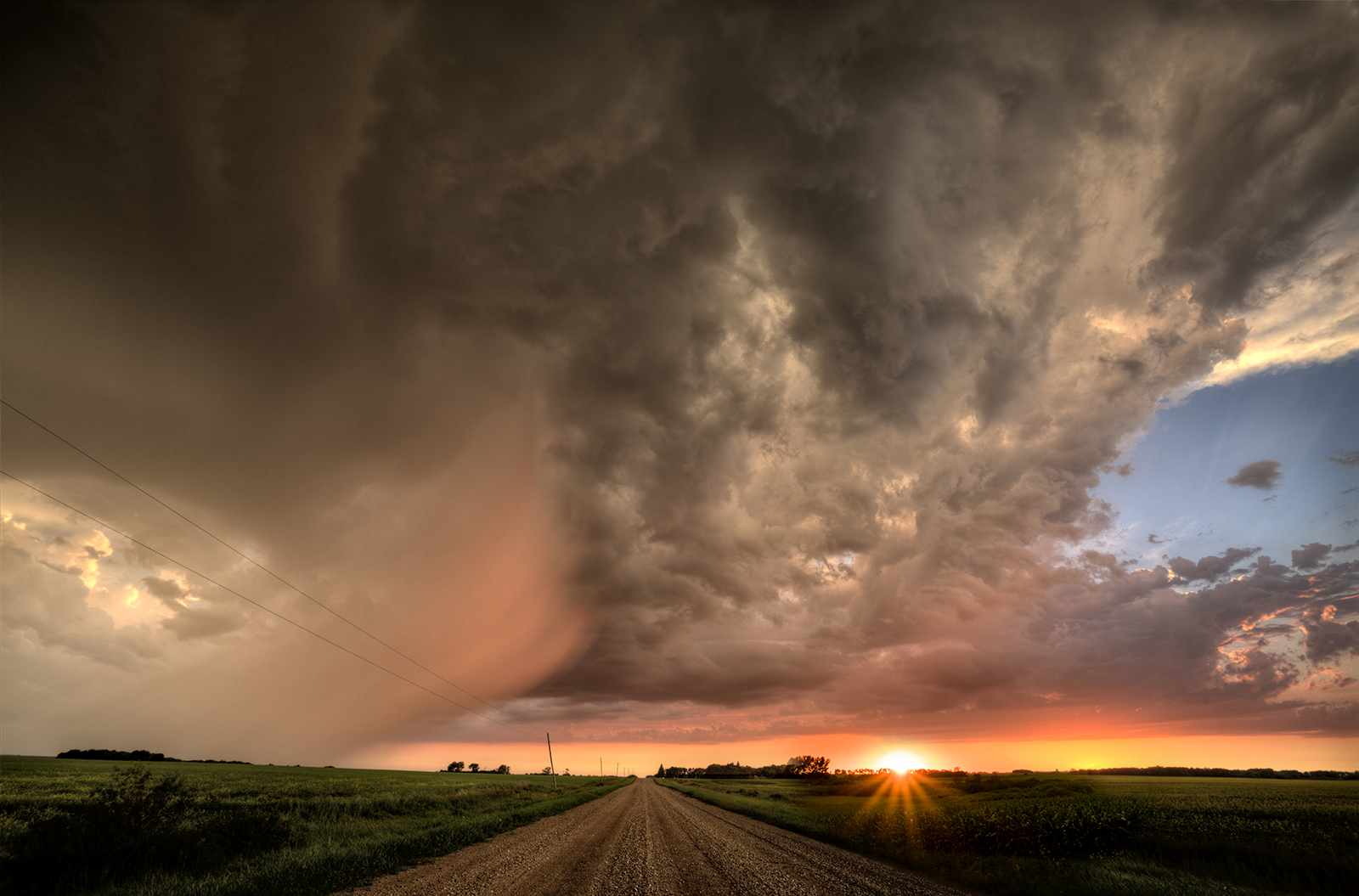 hail storm at sunset in manitoba