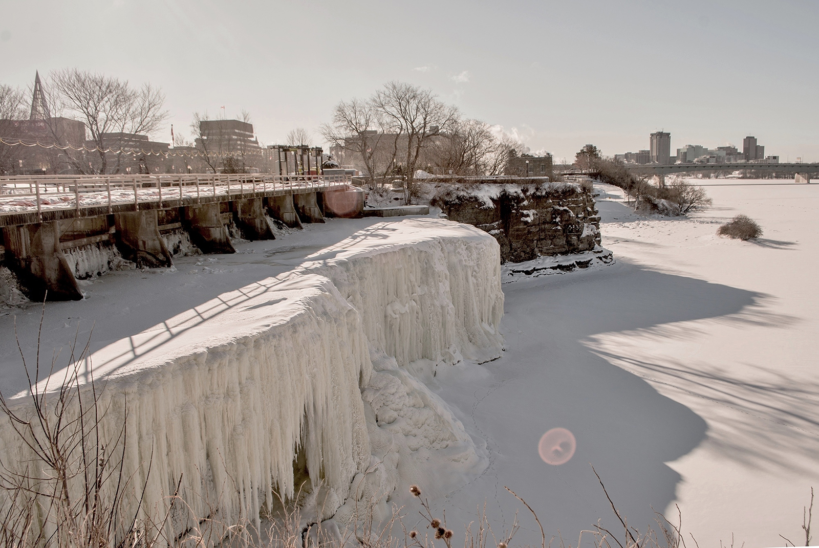 Frozen Rideau Falls, Ottawa, looking toward downtown