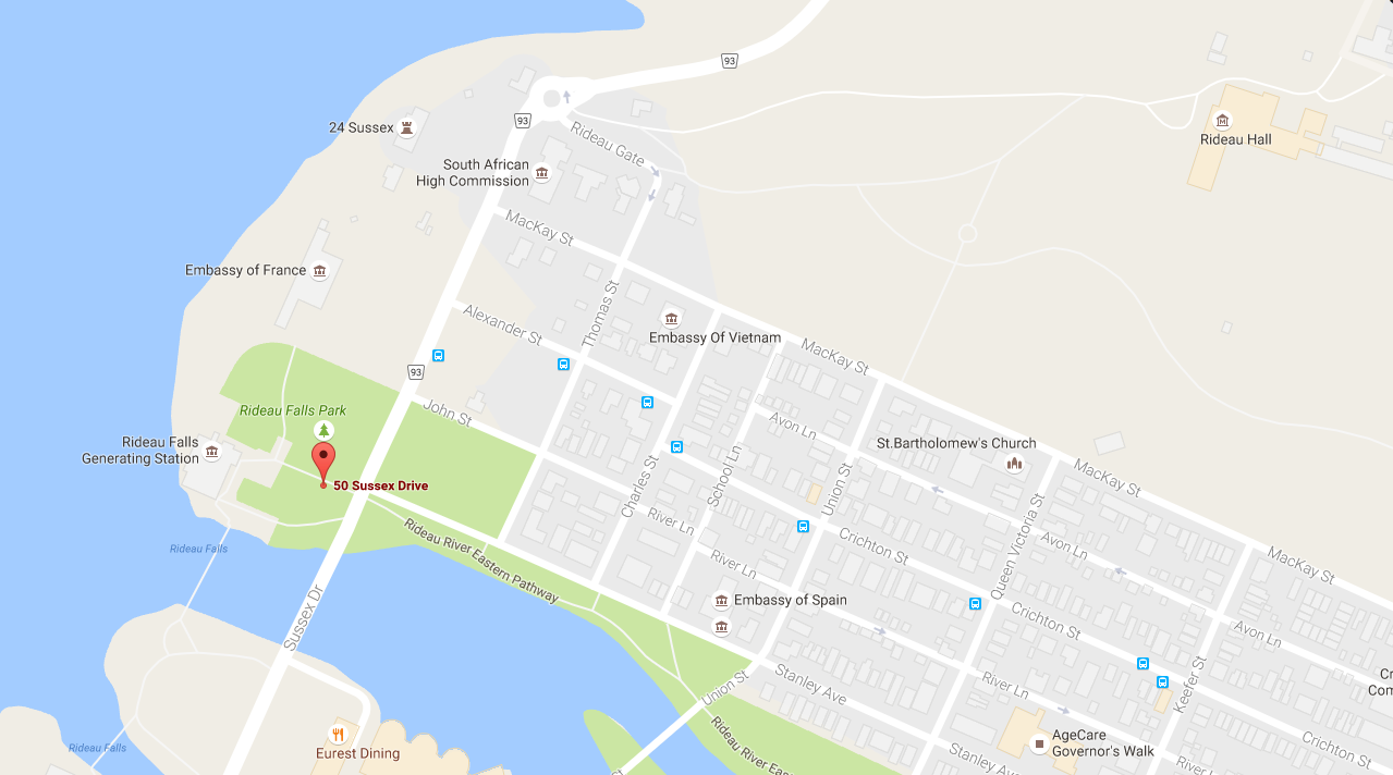 Map of the area surrounding 50 Sussex Drive