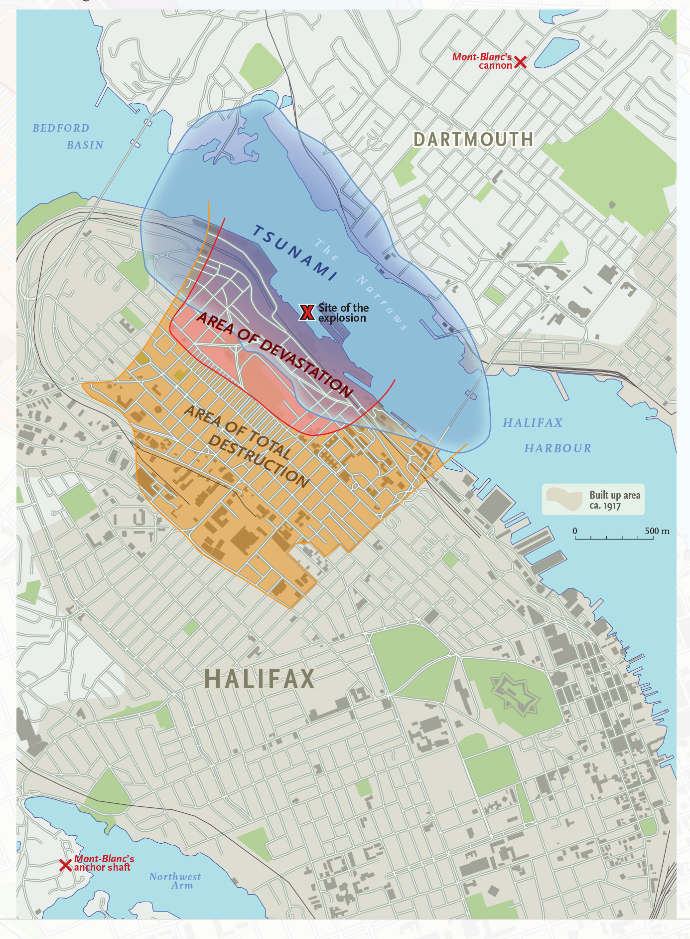 Map of Halifax Explosion superimposed on current city map