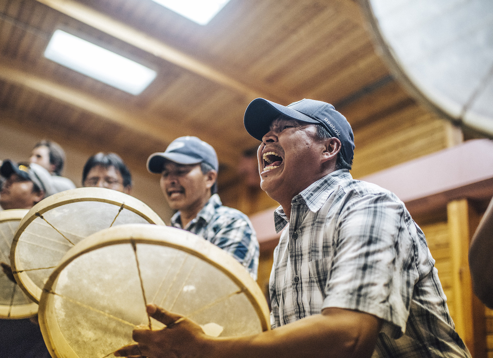 Gordon Taniton and other drummers celebrate Déline's UNESCO status