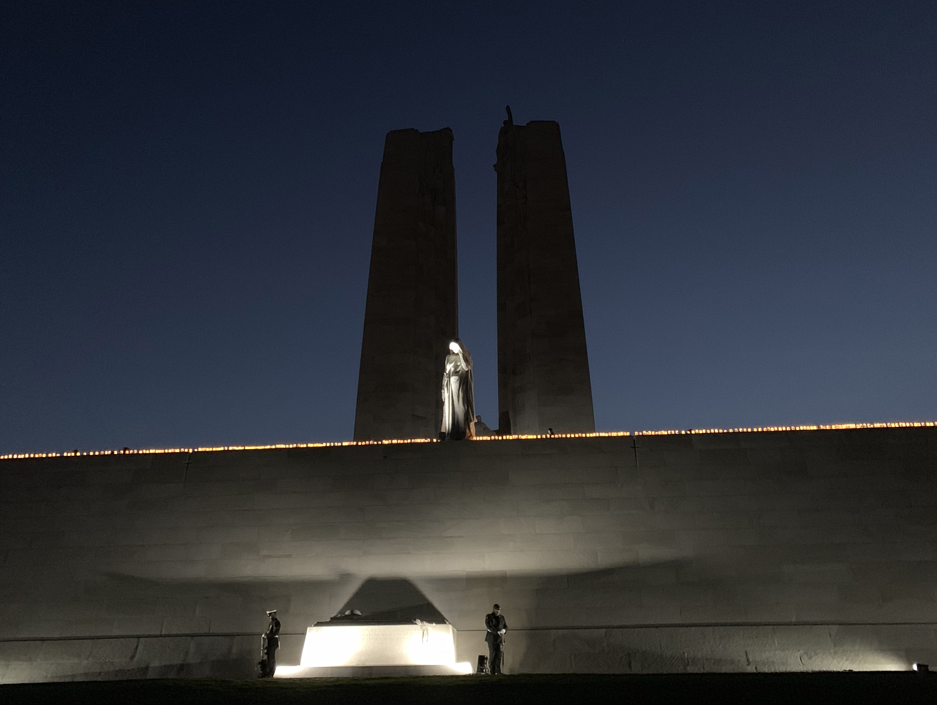 Vimy monument candlelight