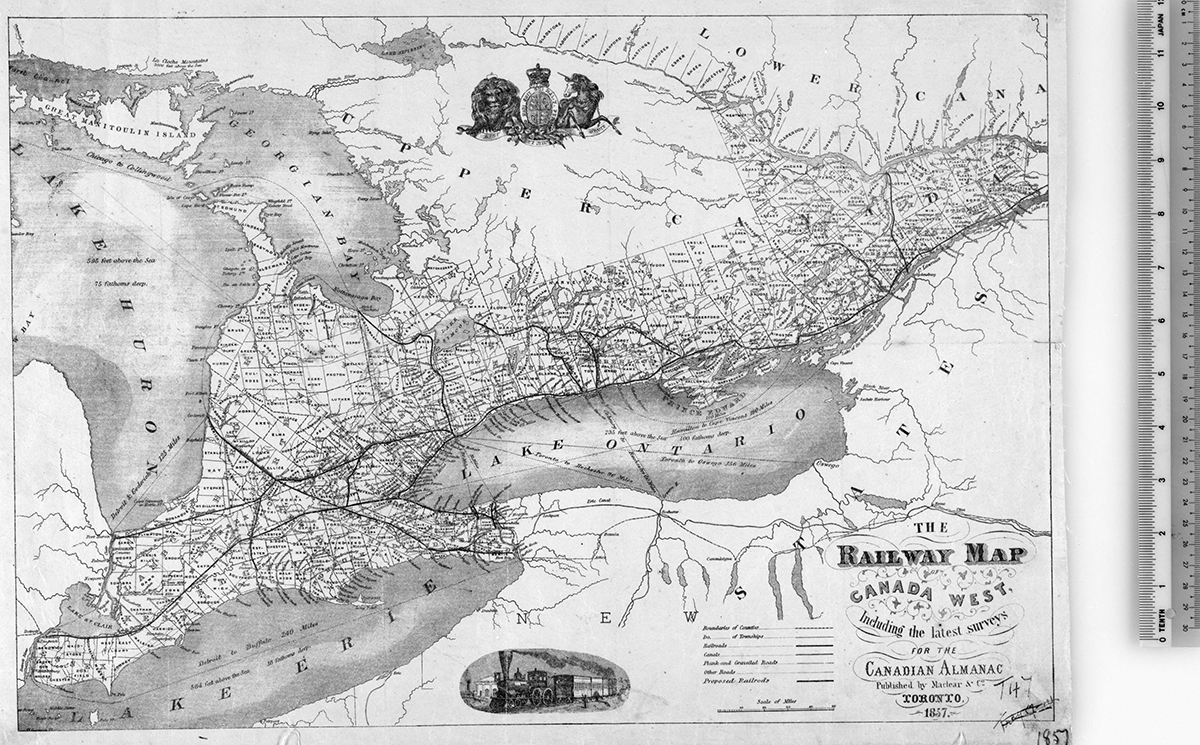 Vintage railway maps from library and archives canadas collection map maclear co the railway map of canada west including the latest surveys for the canadian almanac toronto 1857 1857 library and archives gumiabroncs Choice Image