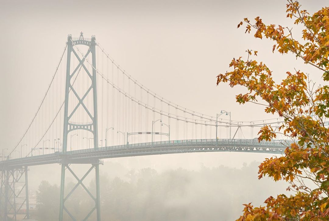 Lion's Gate bridge in Vancouver is seen through thick smoke
