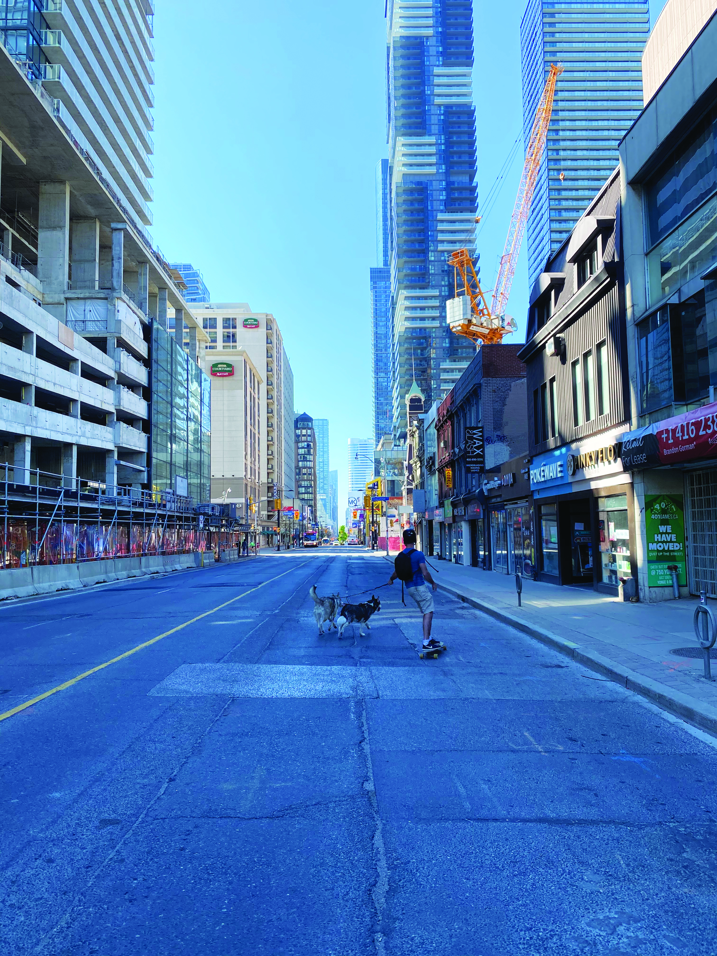 A man skateboards down a empty Toronto street with his Husky dog
