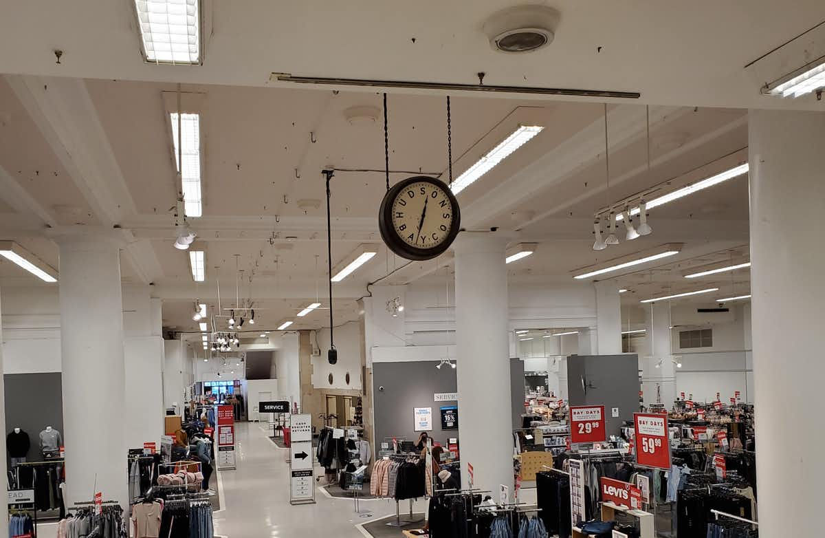 The inside of a department store
