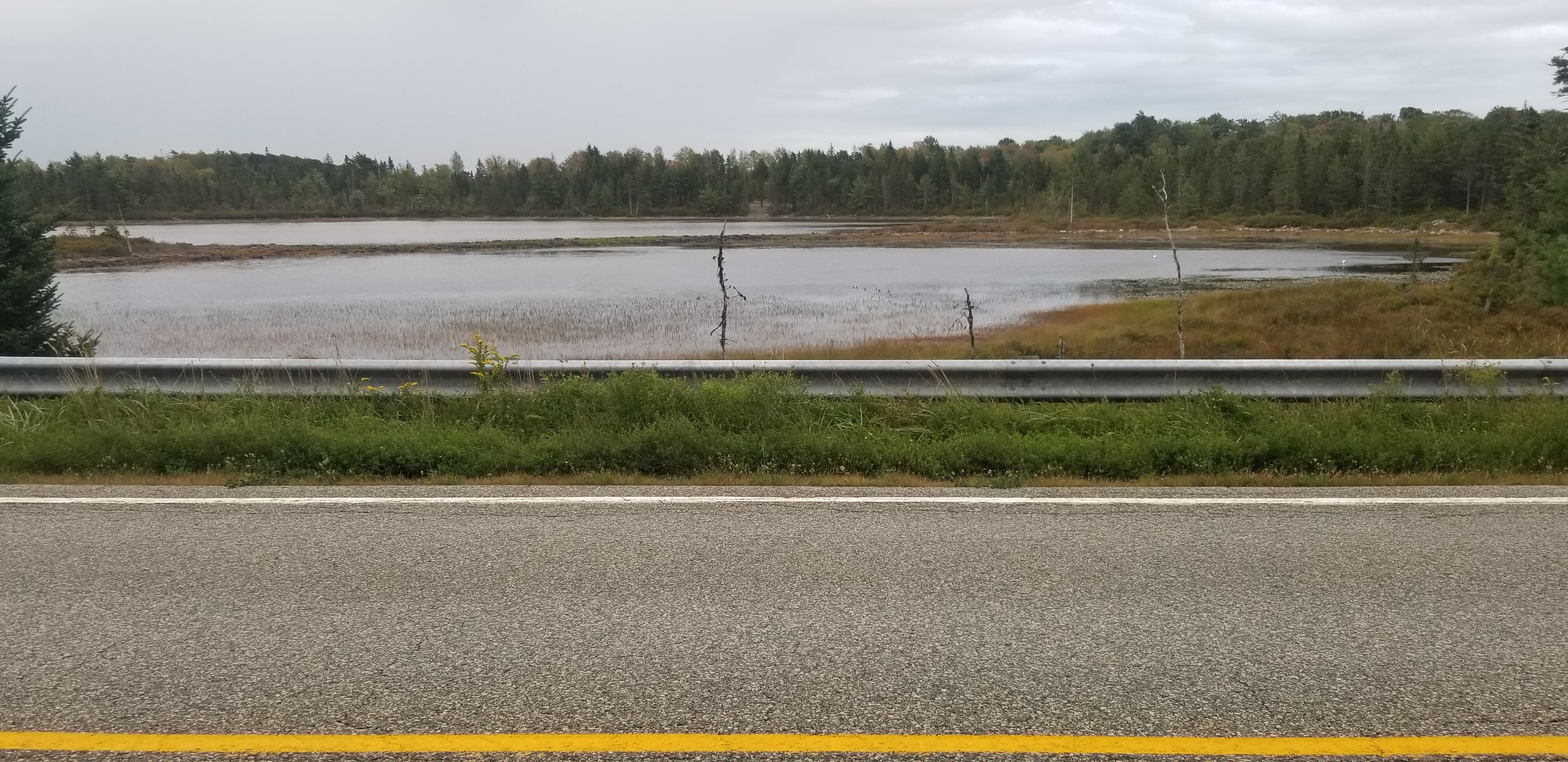 A highway runs next to a lake under a grey sky