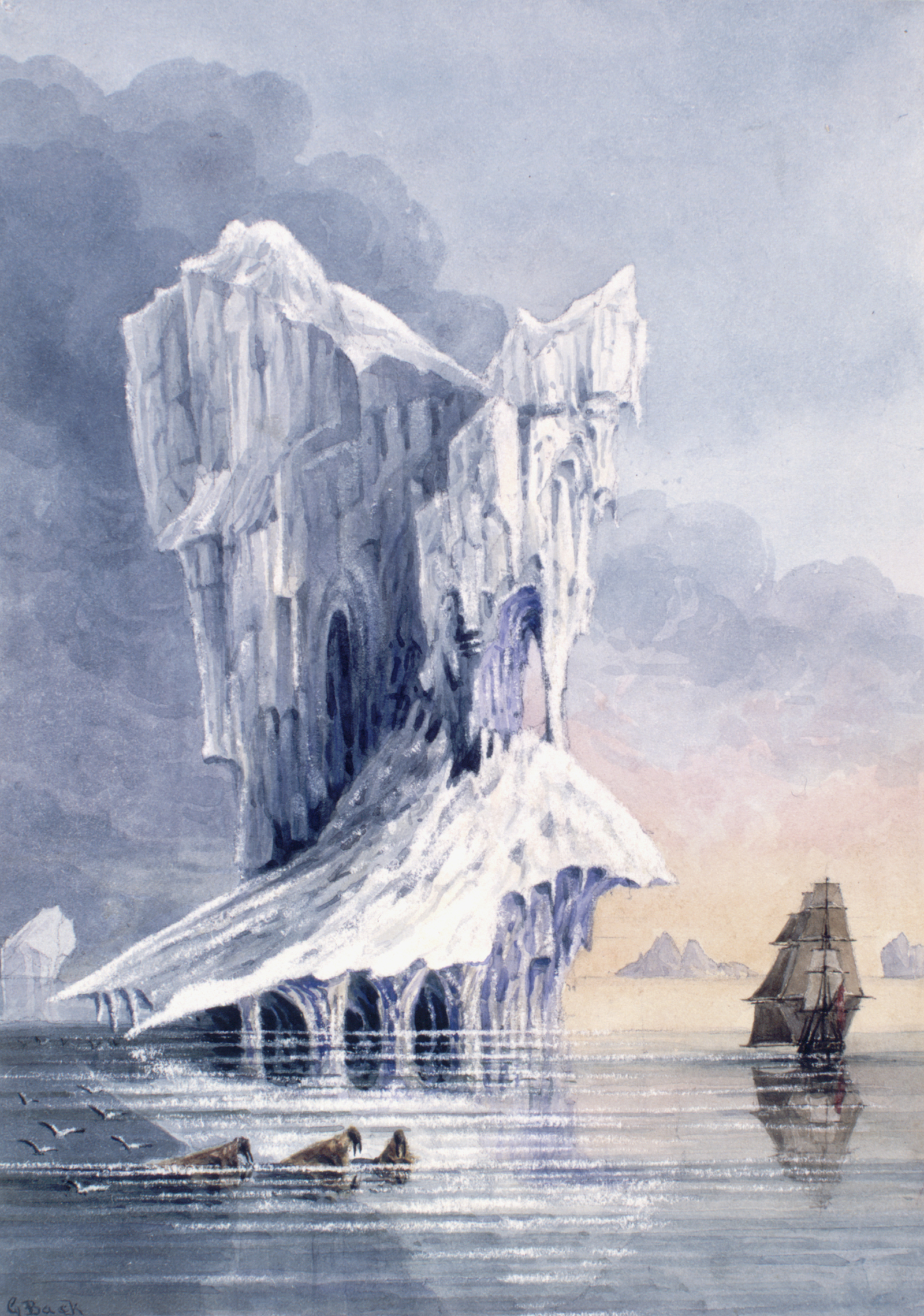An iceberg, the HMS Terror and some walrus near the entrance of Hudson Strait