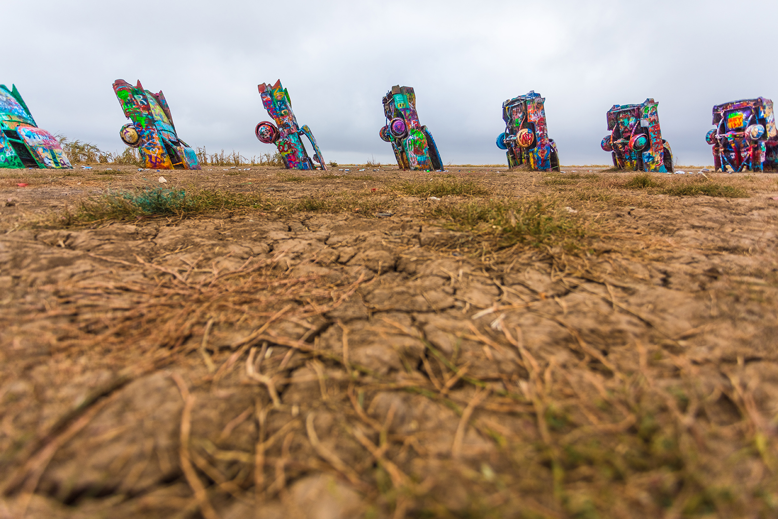 cadillac ranch near amarillo texas wide shot with cars