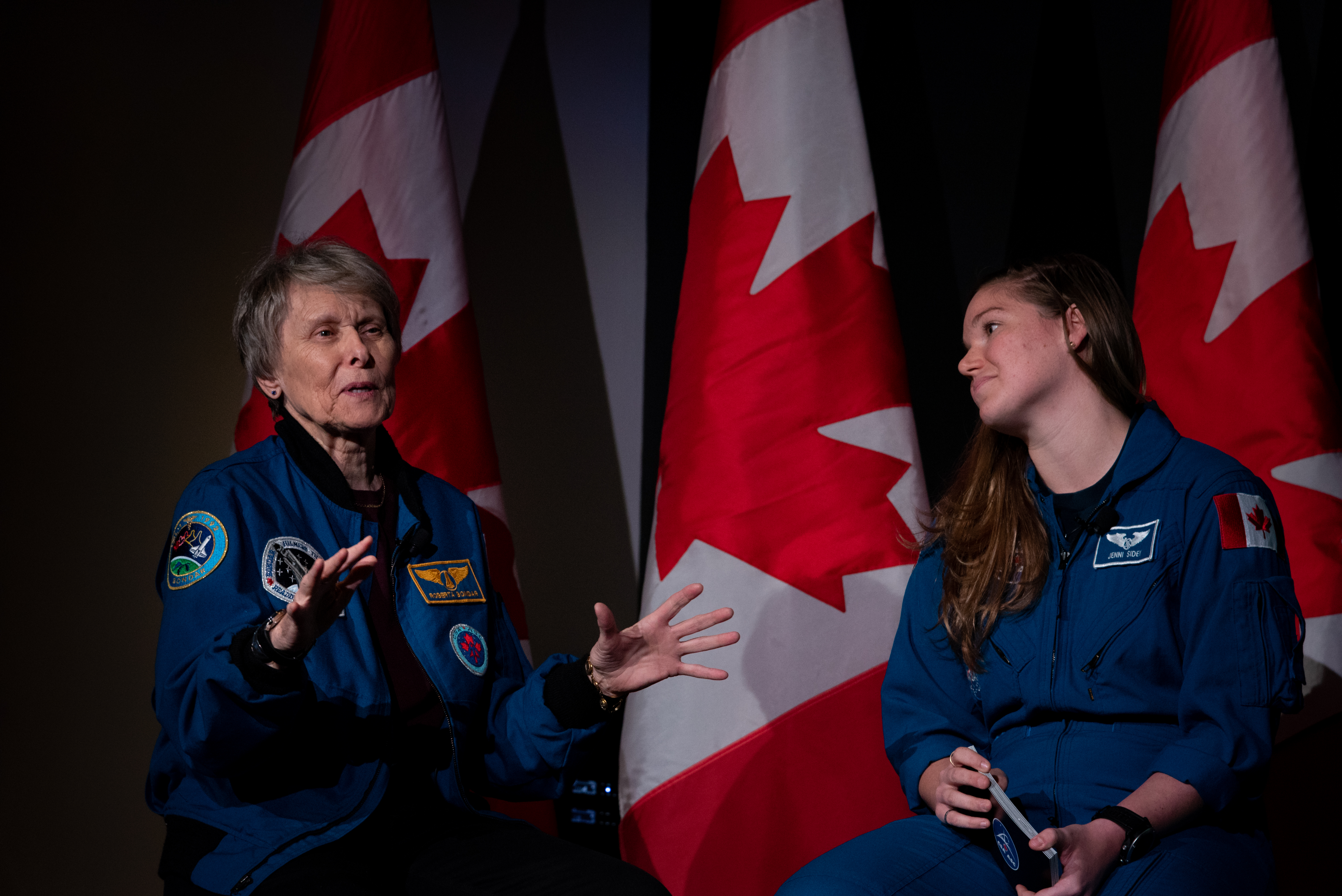 Canadian astronauts Roberta Bondar and Jenni Sidey-Gibbons speak to students at the Canada Science and Technology Museum
