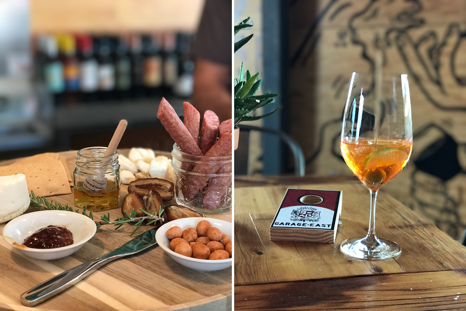 Charcuterie and cocktails at barnone and Garage-east at agritopia, mesa, arizona