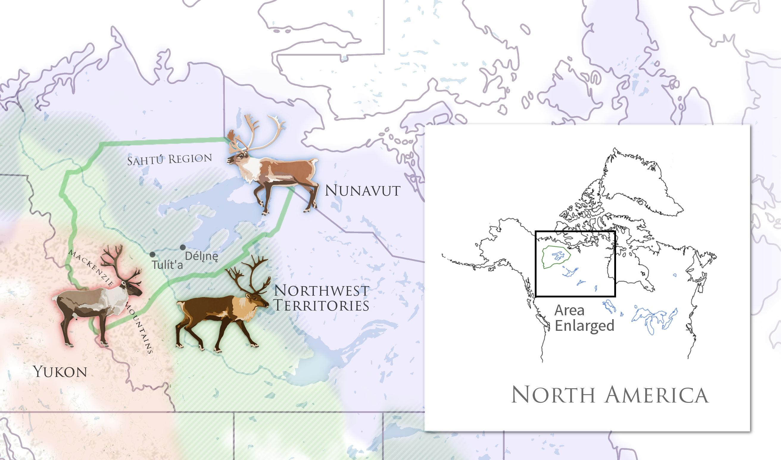 Map showing caribou subspecies distribution in the Sahtu region of Northwest Territories