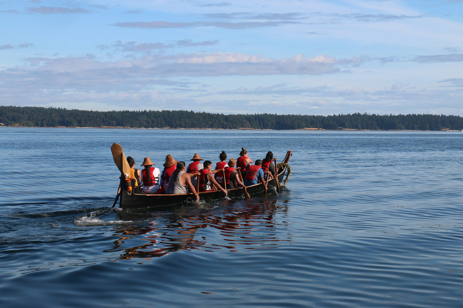 The Squaxin Island canoe family on the Tribal Canoe Journey.