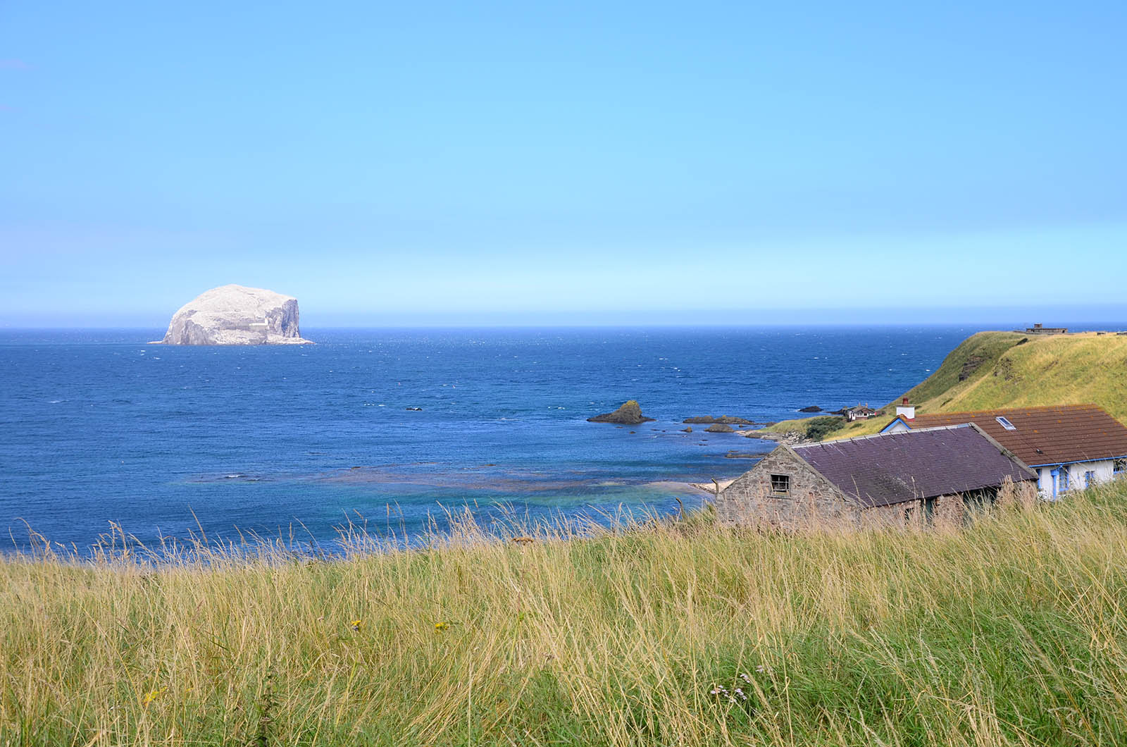 Bass Rock off North Berwick, Scotland, home to the world's largest colony of northern gannets