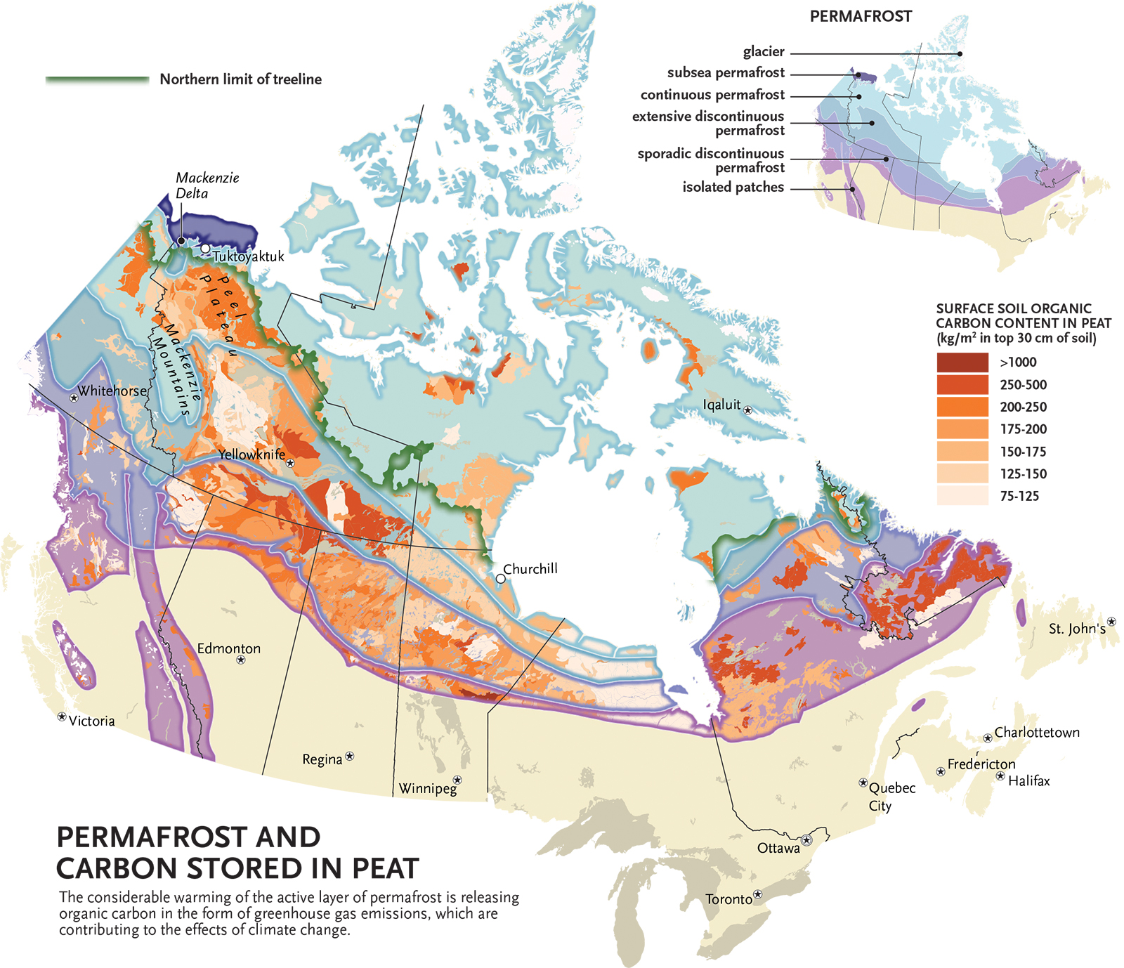 Permafrost Map Canada Arctic permafrost is thawing. Here's what that means for Canada's