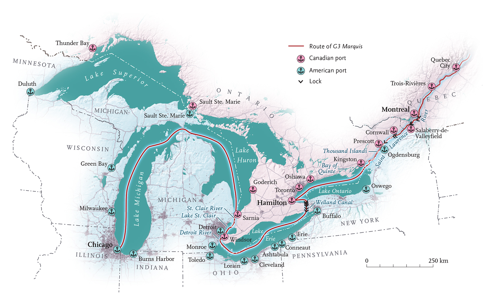 ans of the Great Lakes | Canadian Geographic  Great Lakes Map on