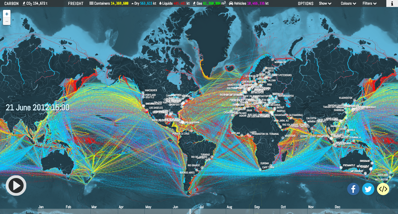 Ship Traffic Map.Map Lets You Visualize Shipping Traffic Around The World Canadian