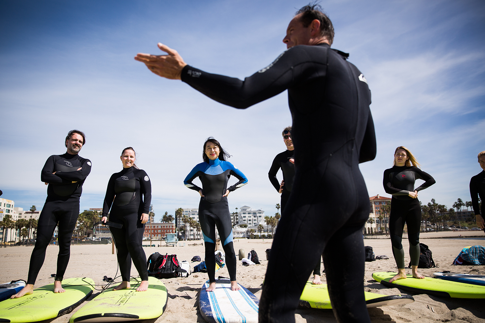 Chris Tennberg of Learn to Surf LA preps his students for the waves.  (Photo  Max Whittaker Visit California) 4fb8ac47c