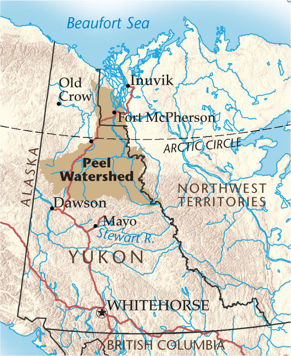 Map of the Peel River watershed in Yukon by Canadian Geographic
