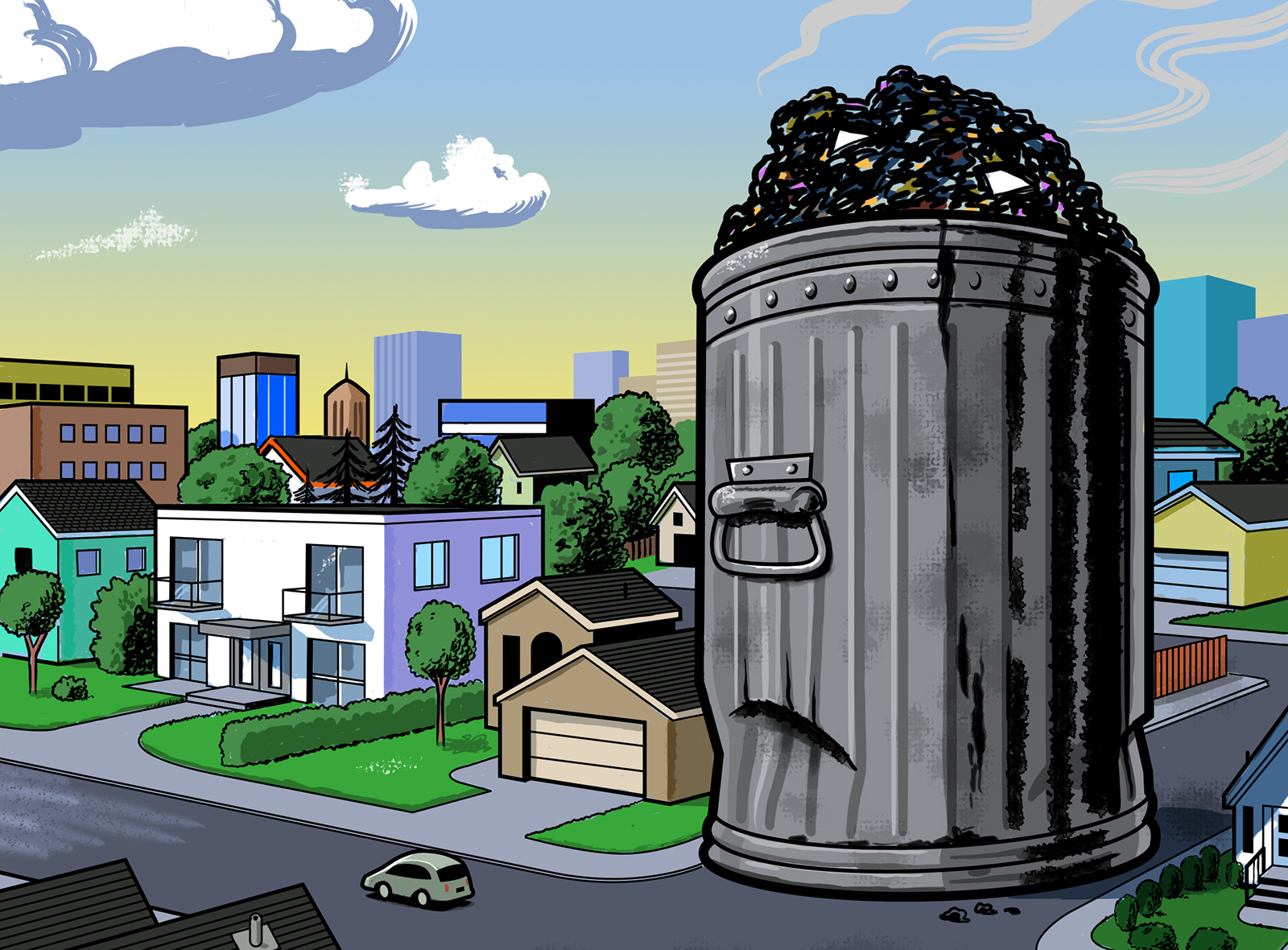 Trash can illustration by Guy Parsons