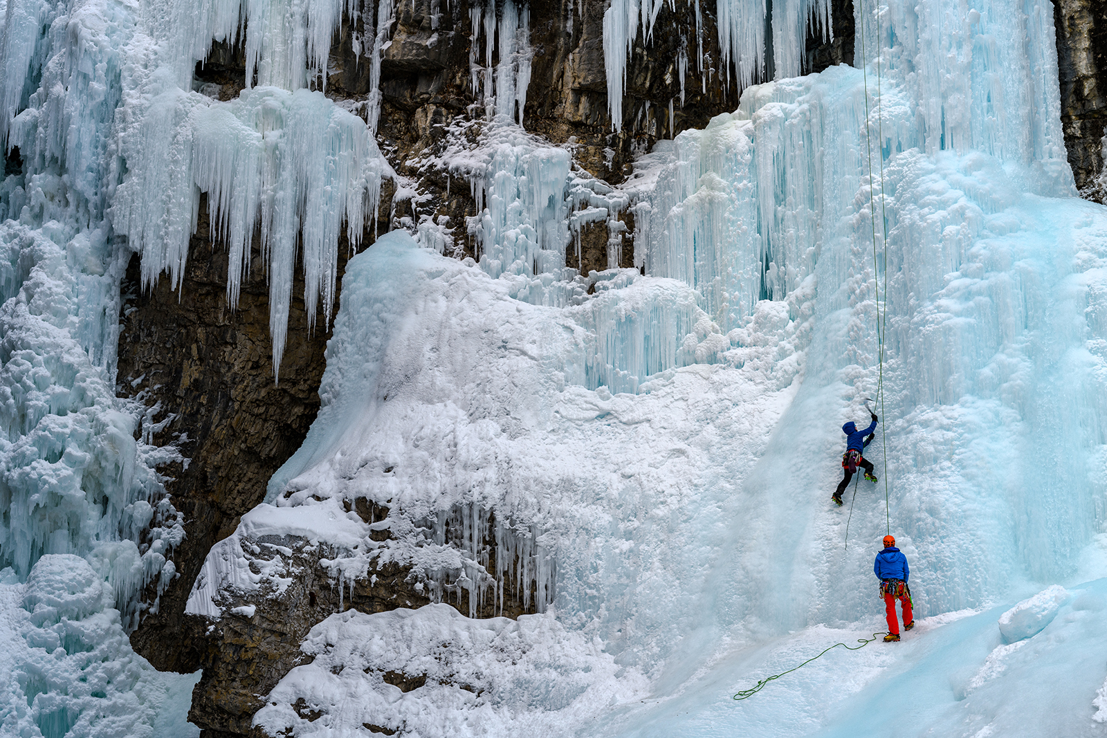 Ice climbers at Johnston Canyon, Banff National Park. Photo by Ferenc Cegledi