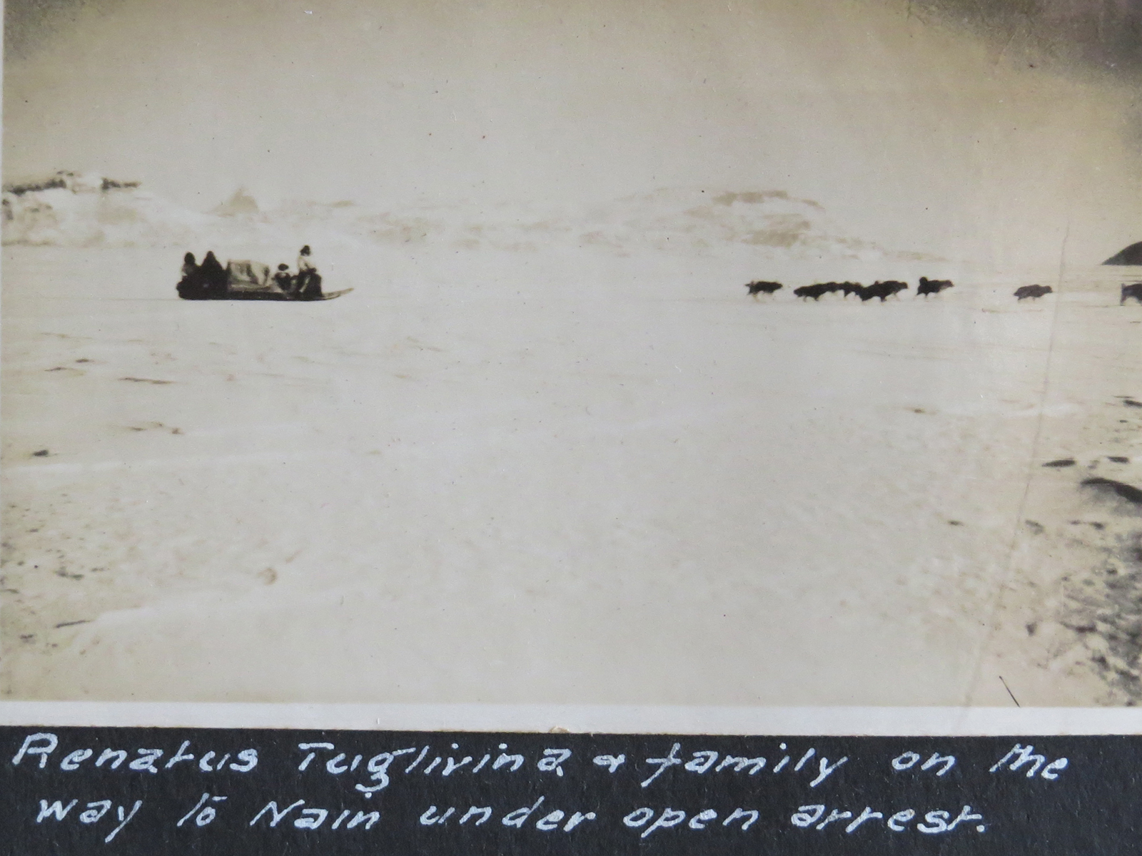 Renatus Tuglavina and his family making their way to Nain under house arrest