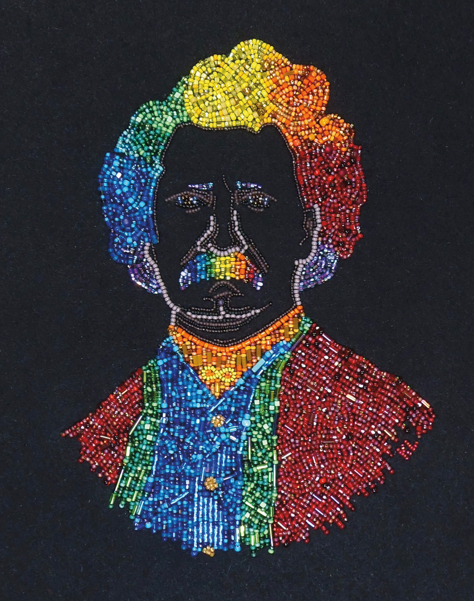 Louis Riel beaded by Krista Leddy