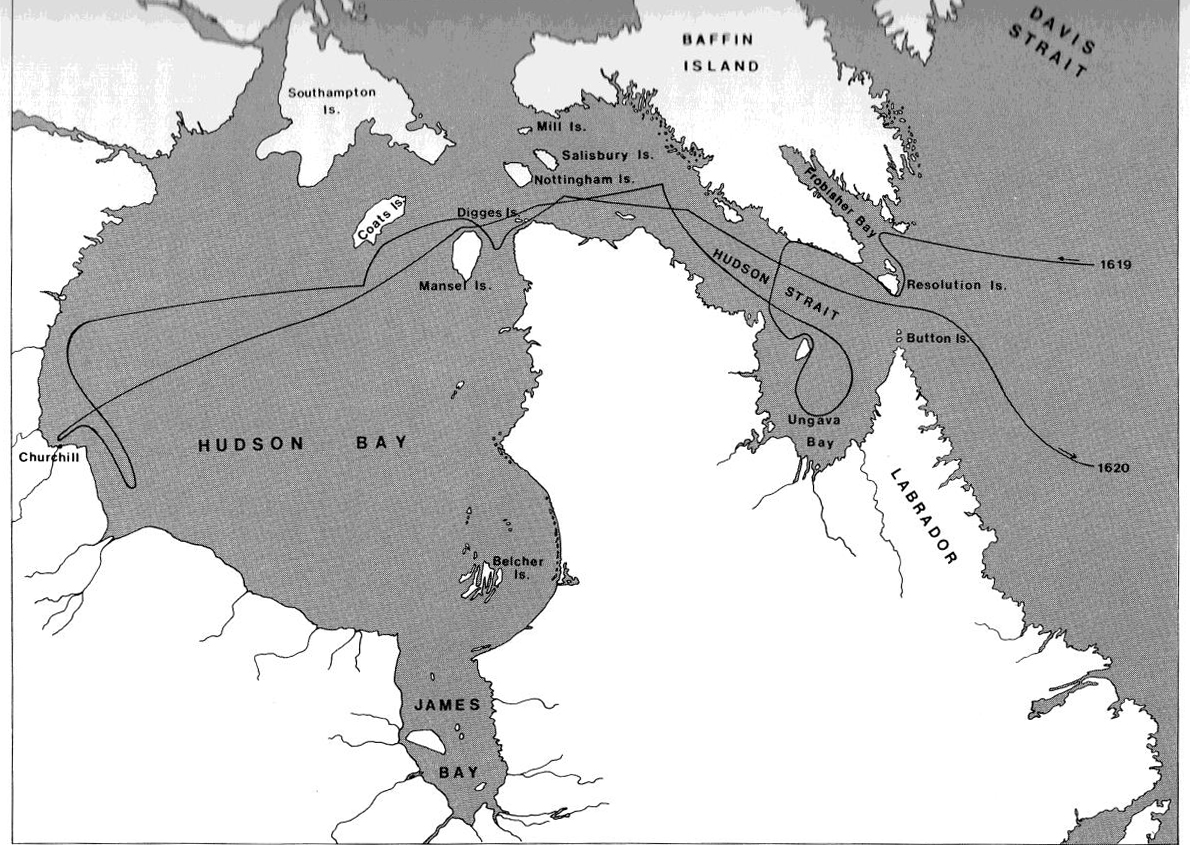 Map of Hudson Bay showing Jen Munk's routes