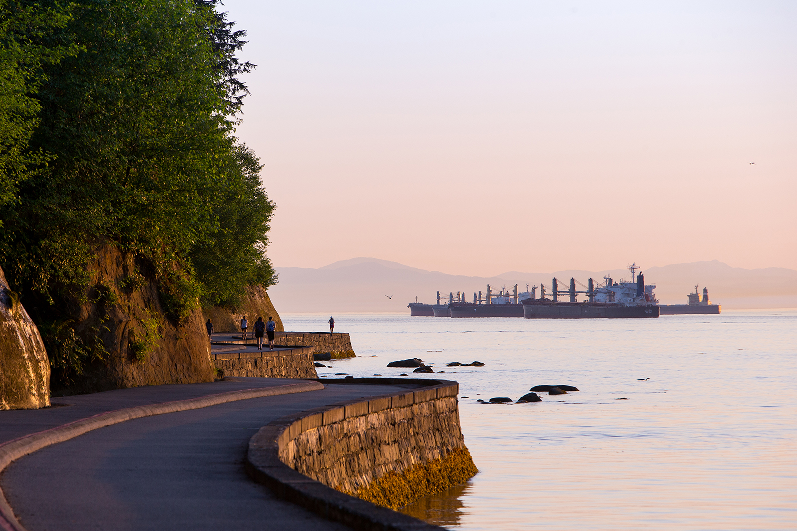 Container ships moor in English Bay while joggers run along the Stanley park seawall in Vancouver