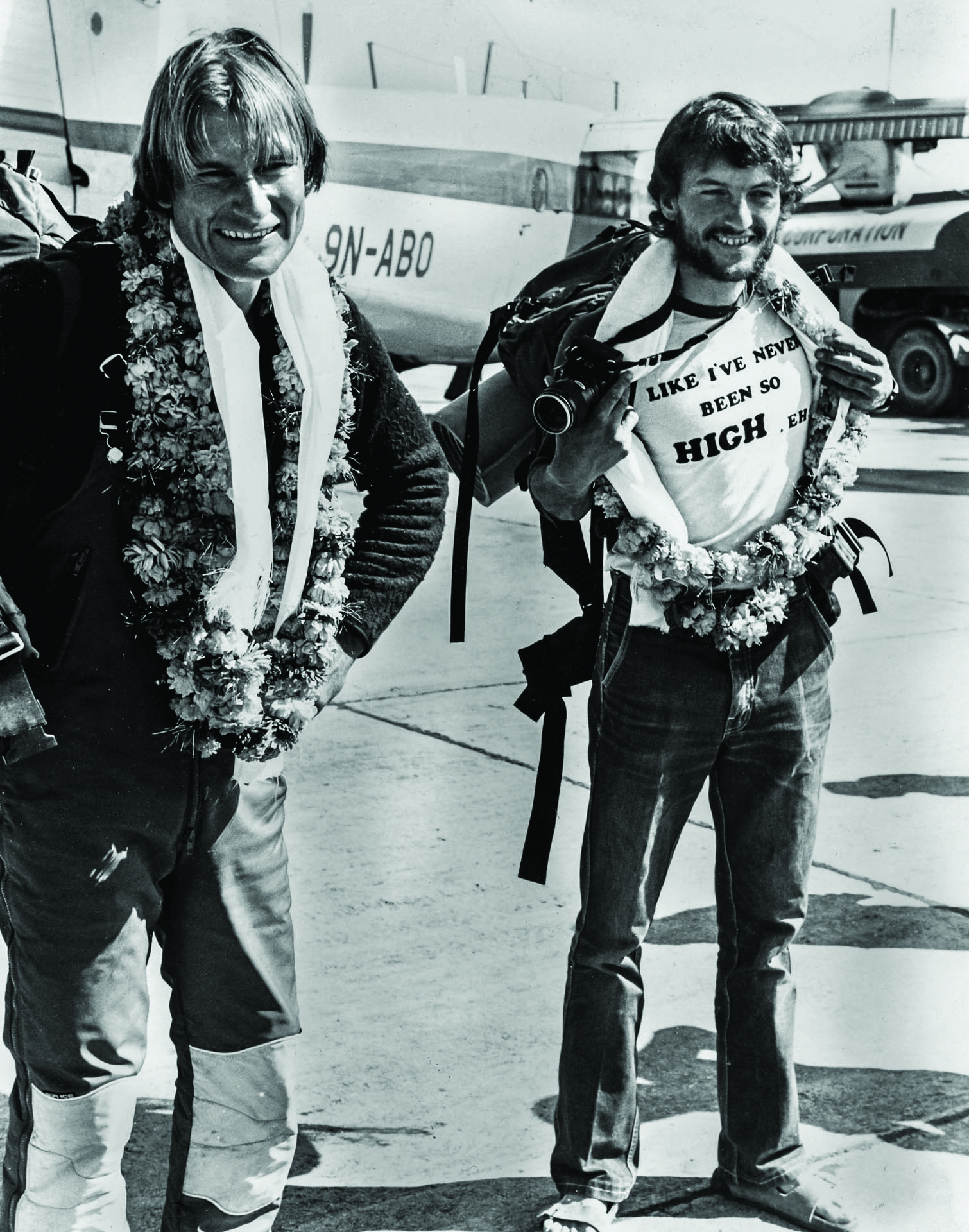 Laurie Skreslet and Pat Morrow after their Everest climb