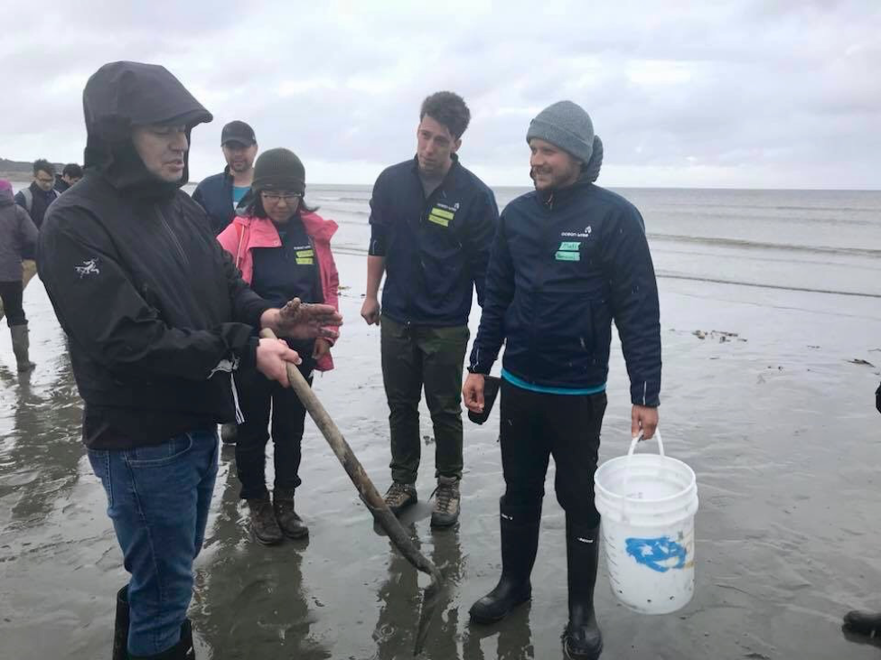 "Chief Donald ""Duffy"" Edgards teaching Ocean Bridge youth Matt Miller (myself), Jordan Bertagnolli, Rayna Vittrekwa, and Alex Ritz how to successfully dig for razor clams."