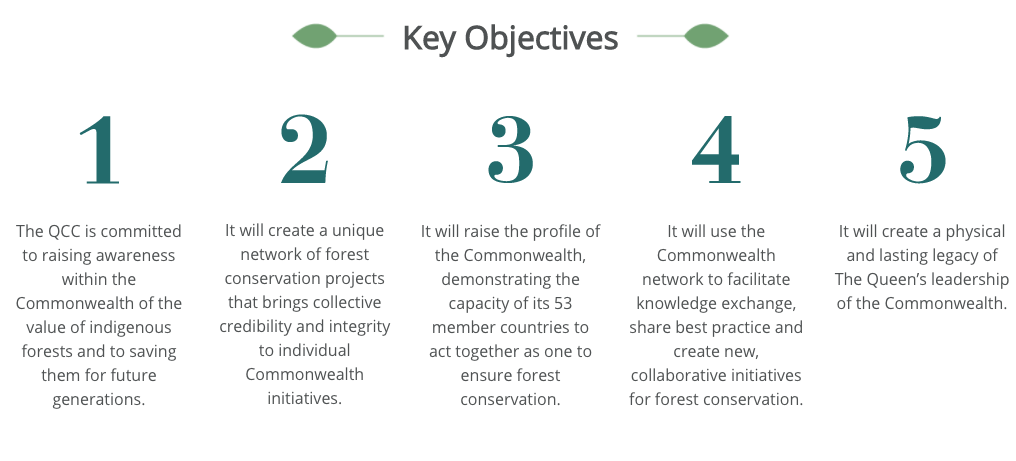 A graphic outlining the objectives of the Queen's Commonwealth Canopy project