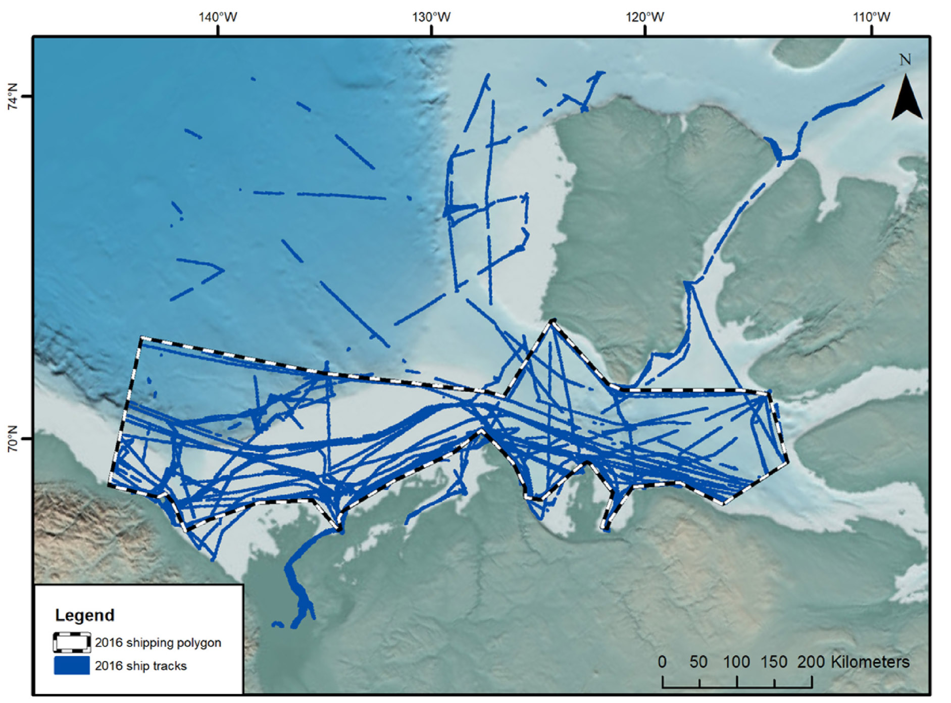 A map showing shipping traffic through critical beluga and bowhead whale habitat in the Amundsen Gulf in 2016