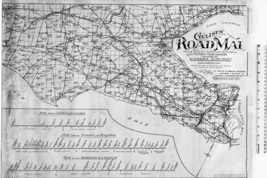 (Map: D.B. Street, Cyclists Road Map, showing all the main travelled roads, Towns, villages etc. between Toronto and London including the Niagara District, 1895, Library and Archives Canada, NMC43015)