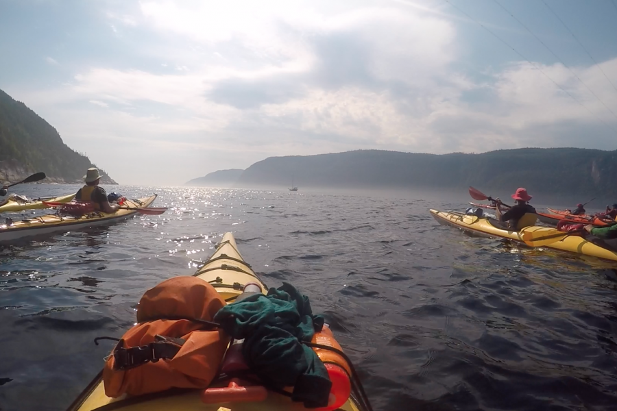 Sea kayaks on the Saguenay fjord