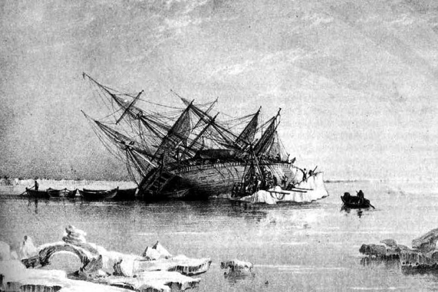 An engraving by George Back showing HMS Terror on its side in ice circa 1937