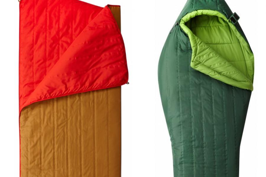 A camp quilt and a sleeping bag